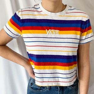 Vans Short Sleeve Colorful Striped Crop T-Shirt S
